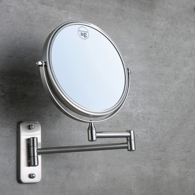 8 Inch Brass Bathroom Mirror 3X 1X Magnification Cosmetic Mirror High  Definition Two Sided Rotatable Foldable Mirror,Brushed