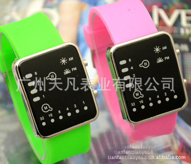 Electronic-Watch Binary Sports Fashion Blue New Led Silica-Gel