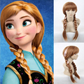 70cm Hair For  Kids Elsa White Wig Synthetic Wigs +1* Hairnet Free For Children Synthetic Front Lace Bang Long Braided Pigtails