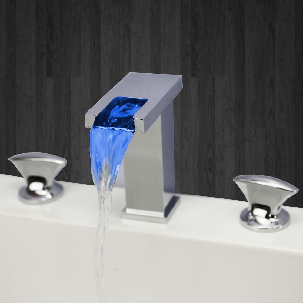 Modern bathroom sinks and faucets - Modern Bathroom Led Widespread 3 Pcs Waterfall Bath Lavatory Sink Faucet Square China