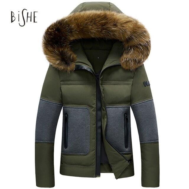 Mens Para Baixo Casaco de Inverno Pato Para Baixo Casaco Jaqueta Com Capuz Patchwork Zipper Homens Grossos Outwear Parka Para Homens Plus Size roupas