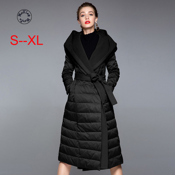 Woxingwosu women's hooded down coat long white duck down jacket slim adjustable waist size S to XL woxingwosu girl s hooded down coat large code light down jacket female short super light and thin s to 4xl 5xl xl 7xl 8xl
