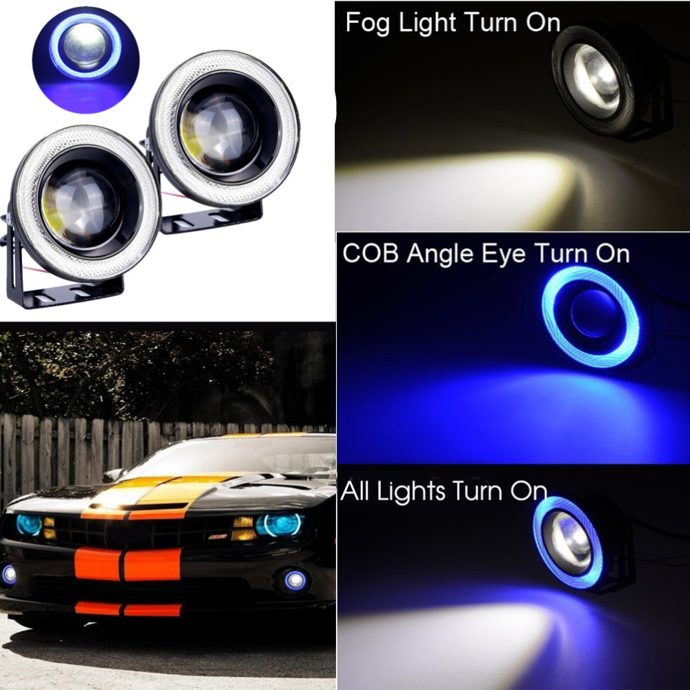 Aliexpress com buy 2pcs car cob led angel eyes fog light lens projector led halo ring waterproof xenon white blue fog lamp 12v suv atv off road from