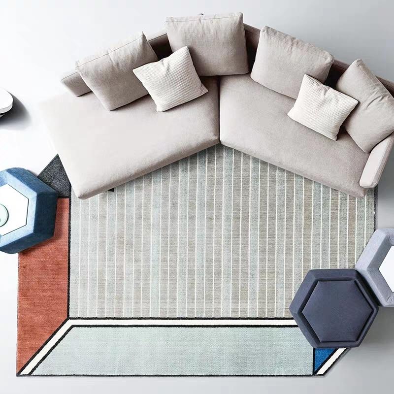 Post-moderne décoration bureau chambre tapis style nordique grande taille géométrique chevet tapis, INS populaire salon tapis - 4