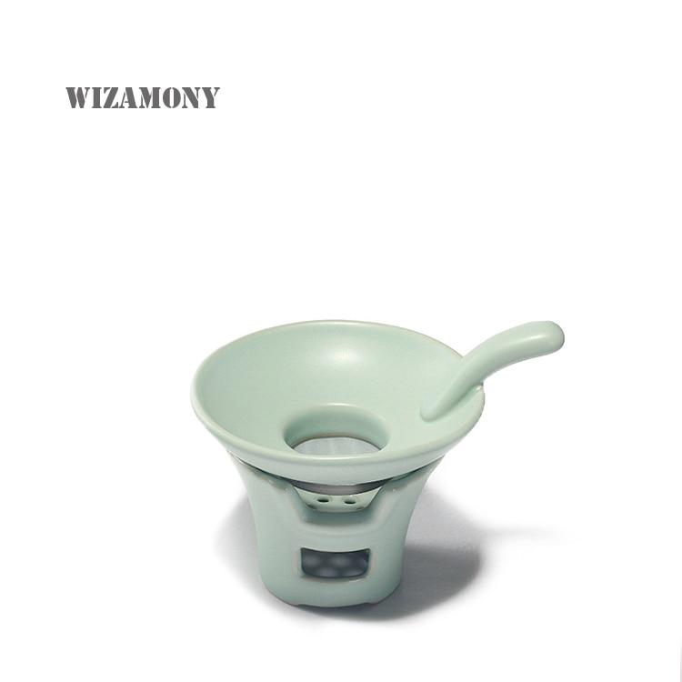 Tea Beauty Chinese Ru Kiln Celadon Tea Filter Ceramic Teaset Tea Leaf Strainers Kungfu Tea Accessories Two-pieces Set