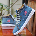 High Top New Fashion 2017 Black Blue Denim Canvas Shoes Men's Flats Vulcanize Flag Breathable Men Shoes Spring Autumn D110