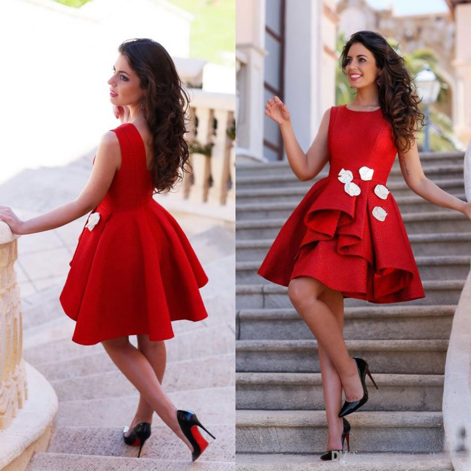 Buy Hot Red Sexy Short Mini Homecoming Dresses with White Flowers Sleeveless Prom Dresses Cocktail Party Gowns vestidos de baile for only 125.7 USD