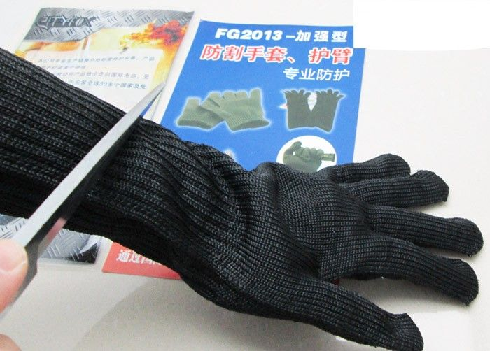 Long steel reinforced anti-cut gloves genuine five steel protective equipment gloves with anti- cut armband( 2017new style 316l anti cut gloves with stainless steel safety protective gloves with a anti cut hppe gloves 2 pairs