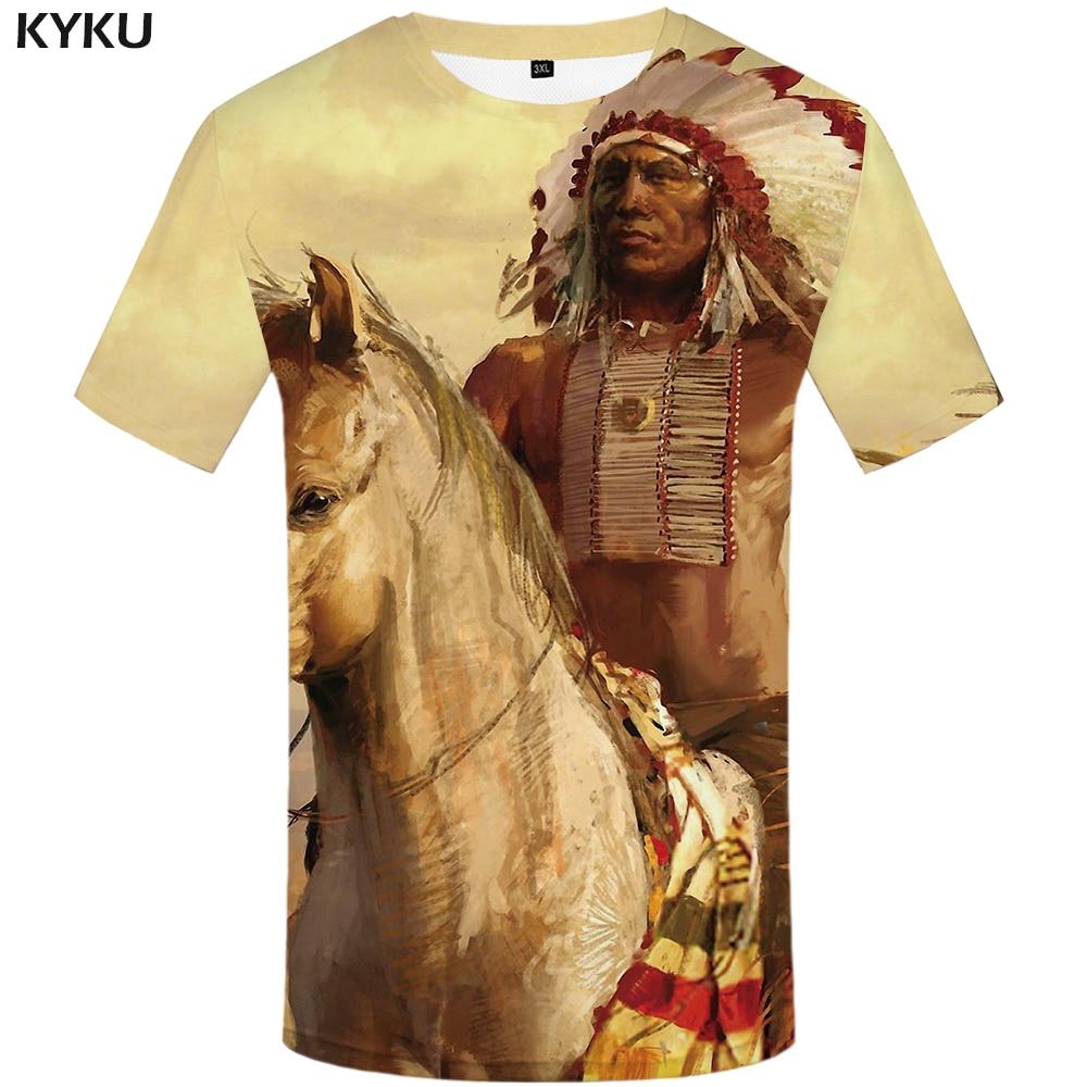 Футболка мужская с 3D-принтом KYKU, летняя футболка с рисунком белых индейцев, хип-хоп стиль