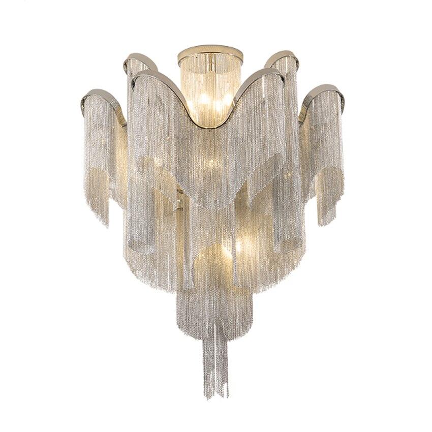 Modern Aluminum Chain Chandelier Lighting Fixture Luxury Hanging Lamp Tassels Design Noble Grace LED Lights E14 holders