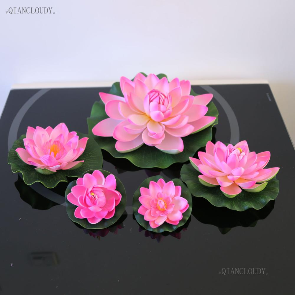 Artificial Hot Pink Lotus Leaves Fake Flowers Water Lily Floating