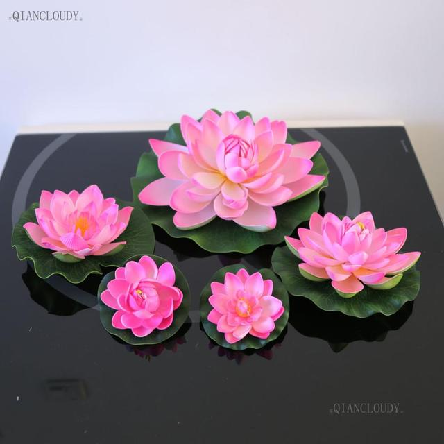 Artificial hot pink lotus leaves fake flowers water lily floating artificial hot pink lotus leaves fake flowers water lily floating swiming pool ponds flowers home garden mightylinksfo