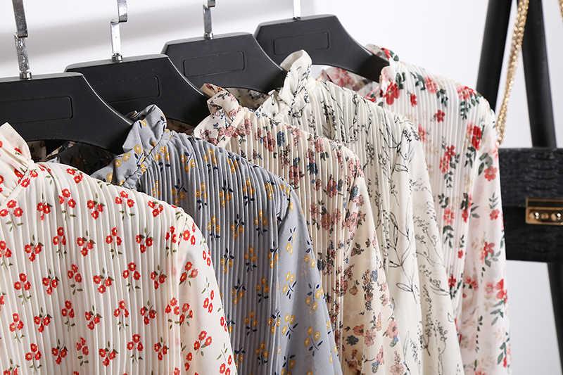 Женское шифоновое двухслойное платье-трапеция, с цветочным рисунком и эластичной талией, на завязках, с расширяющимся к низу рукавом, богемное весеннее платье, 2019