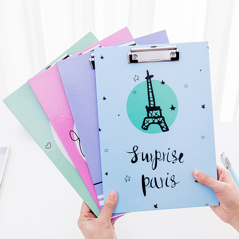 Creative Cartoon A4 Folder Clipboard Vertical Leather Writing Folder Pad Office Wooden Folder Student Supplies Stationery Gifts