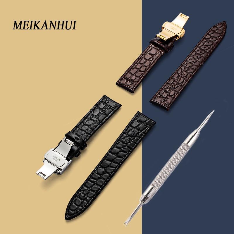 Hight Quality 20mm Watch Band Leather 22mm Men Women Brown Waterproof Watch Strap 16mm Genuine Steel Buckle Black 18mm Watchband цена