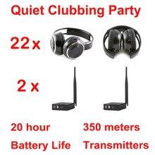 Silent Disco compete system black folding wireless headphones – Quiet Clubbing Party Bundle (22 Headphones + 2 Transmitters)