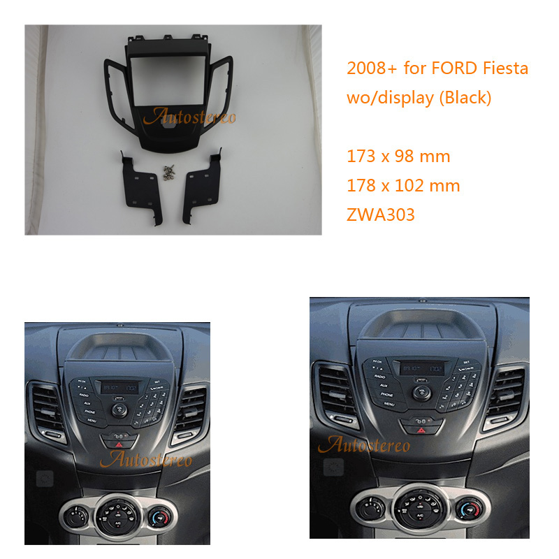Car Radio Fascia multimedia Frame Kit For Ford Fiesta 2008+ Facia Dash CD Stereo Panel Dash Mounting Installation Trim Kit Face 11 405 car radio dash cd panel for kia skoda citigo volkswagen up seat mii stereo fascia dash cd trim installation kit