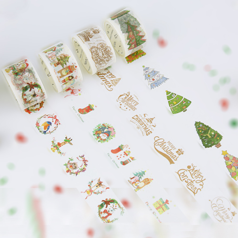 3 Rolls Pack WASHITAPE 1.18 Inch Christmas Masking Tape 4 Designs For Xmas Cards Party Deco Planner DIY Handmade Projects