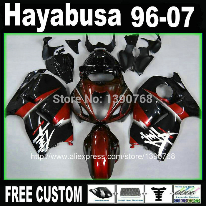 Motorcycle fairing kit for hayabusa suzuki GSXR1300 1996-2007 red black fairings set GSX1300R 96-07 +  BT68 free customize mold fairing kit for suzuki gsx 600f 750f 95 96 97 05 red black fairings set gsx600f 1995 1996 2005 lm41