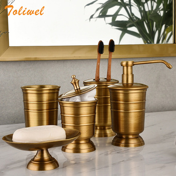 Antique Brass Soap Dish Liquid Soap Dispenser Toothbrush Holder Gargle Cup Storage Tank 5pcs Bathroom Accessory Set europe 5pcs pink ceramic toothbrush holder cup soap dish shampoo bottle dispenser eco friendly couple bathroom accessories set