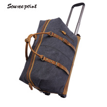 YISHEN Canvas Wheel Luggage Metal Trolley Bags Men's Travel Bag Hand Trolley Bag Large Capacity Male Travel Suitcase YD-2077-A#