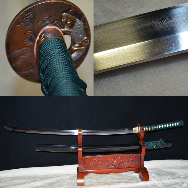 FULL TANG HANDMADE JAPANESE SAMURAI SWORD KATANA CLAY TEMPERED DAMASCUS FOLDED STEEL SHARP BLADE Genuine Rayskin Fish theme