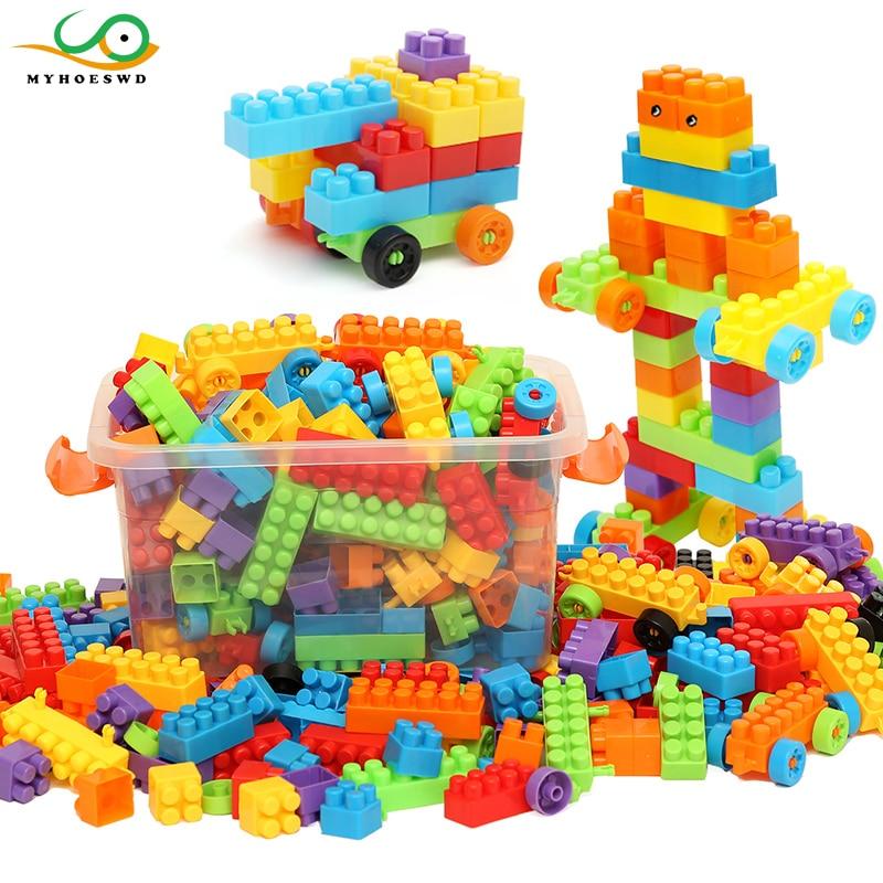 MYHOESWD Puzzle Blocks Construction Toys Baby Enlighten Assembly Building Blocks Toys Kids Educational DIY Plastic Technic Brick