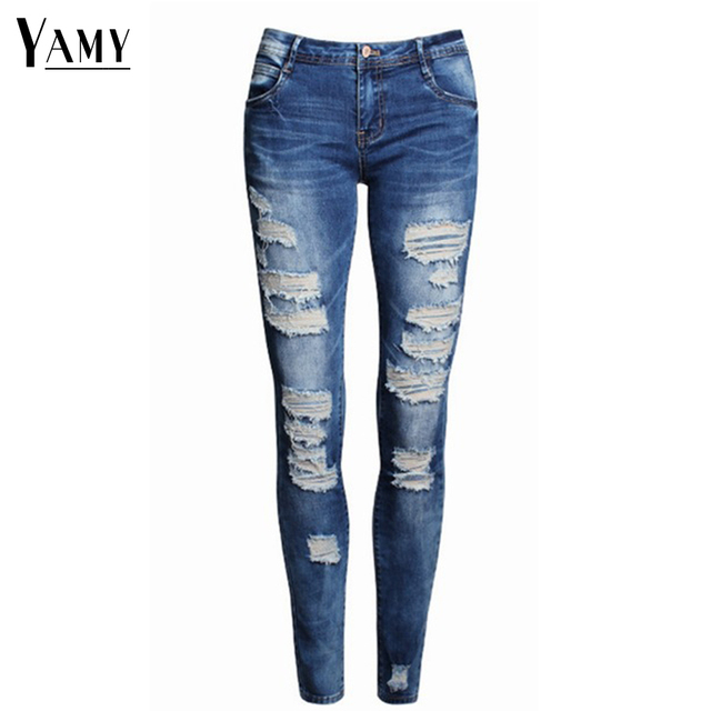 13c341d9be0 2019 ladies cotton denim black white stretch ripped jeans for women pencil  skinny jeans woman jeans female