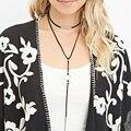 Nueva terciopelo negro collar de la cuerda del tubo de Cobre larga borla collar de declaración de las mujeres collar de la joyería bohemia bijoux collier XR1534