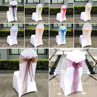 Organza Chairs Sashes For Party Home Decor Chair Sash Bow Wedding Birthday Party Home Decoration Hotel