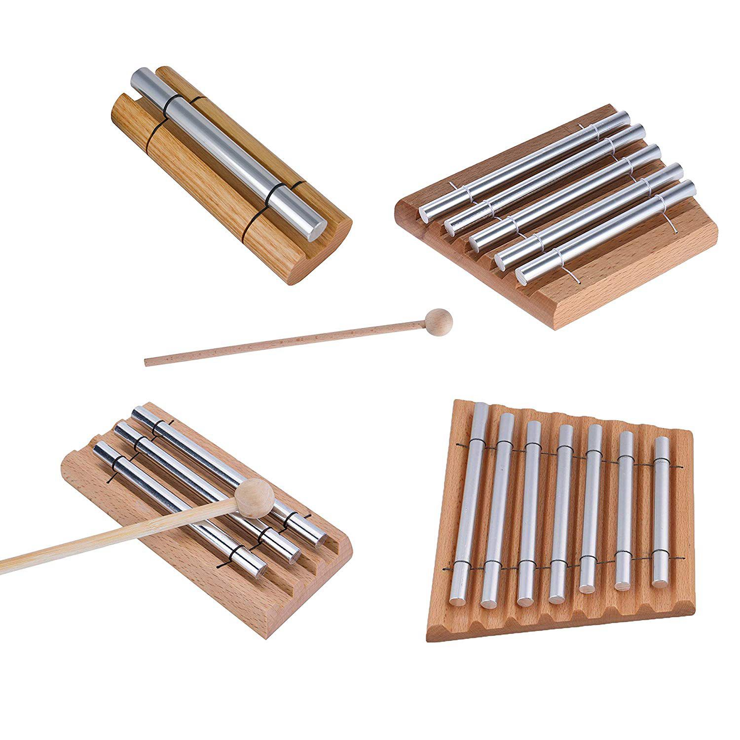 FSTE-2 Pair Wood Mallets Percussion Sticks for Energy Chime, Xylophone, Block, Glockenspiel and Bells