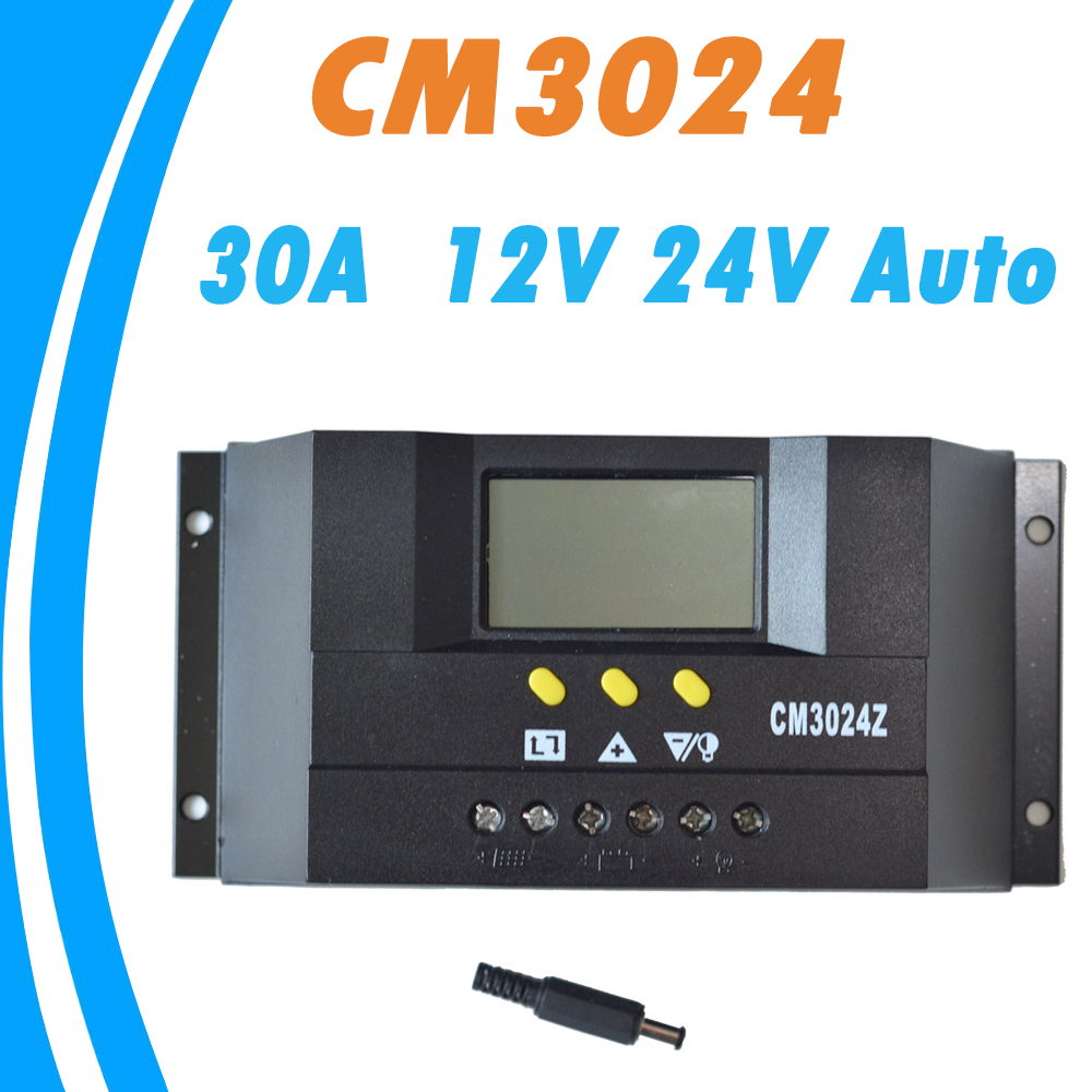 PWM 30A Solar Panel Controller Regulator Charge Battery Protection 12V 24V Auto Switch for PV System new arrival pwm mode 12v 24v 30a automatic solar charge controller show battery 30a solar charge regulator for road light