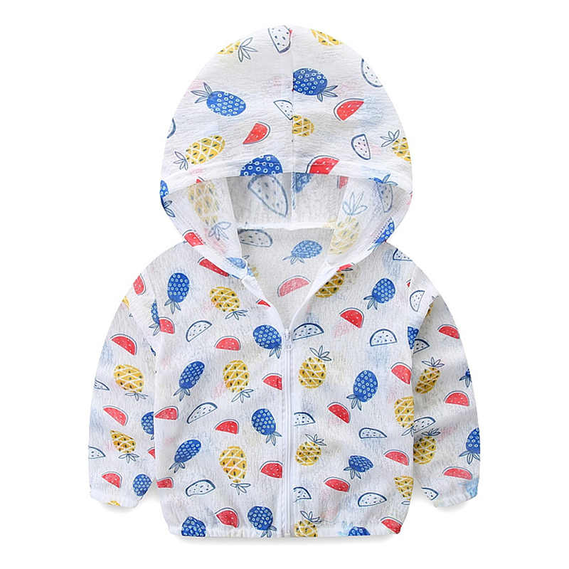Kids Jackets for Boys/Girls Cute Print Sun Protection Clothing Baby Hooded Ultra-thin Breathable Sunscreen Coat Baby Boy Clothes