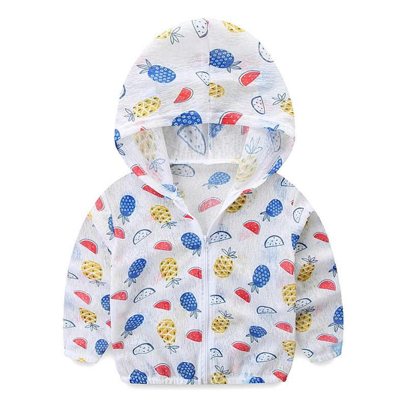 ילדים מעילים לילדים/בנות חמוד הדפסת שמש הגנת בגדי תינוק ברדס דק לנשימה קרם הגנה מעיל תינוק ילד בגדים