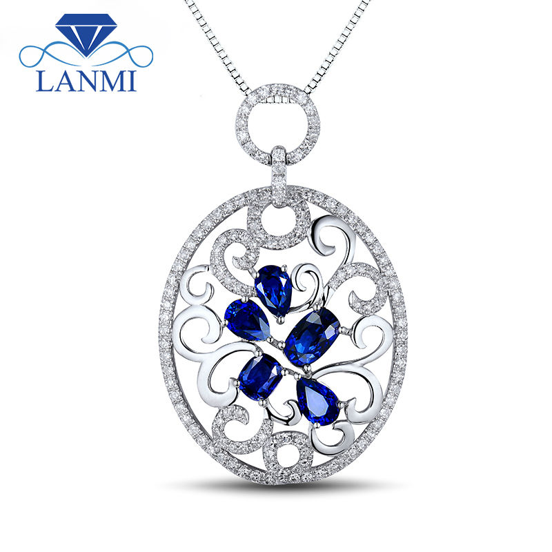 Fascinating Natural Blue Sapphire Gemstone Pendant Real Pretty Diamond Solid 18K White Gold Flower Shape Jewelry WP056
