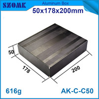1 piece szomk power supply brushed aluminium enclosure housing black project box in black color for pcb 50*178*200mm