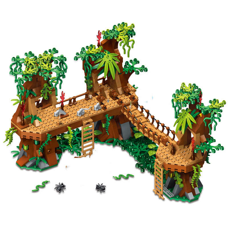 686 + pc IL MIO Wrold Foresta Castello Ponte Building Blocks Giocattoli Compatibile Città il mio Mondo Blocchi di Mattoni Giocattoli Per I Bambini