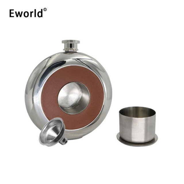 Eworld New Mirror Polished Pie Pu Leather Hip Flask 5 OZ 150ML Fine Round Stainless Steel With a Small Glass Funnel Grade 304
