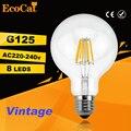 Привело G125 Эдисон Лампы Большой лампочка 2 Вт 4 Вт 6 Вт 8 Вт нити светодиодные лампы E27 прозрачное стекло лампы внутреннего освещения 220В урожай ретро лампы