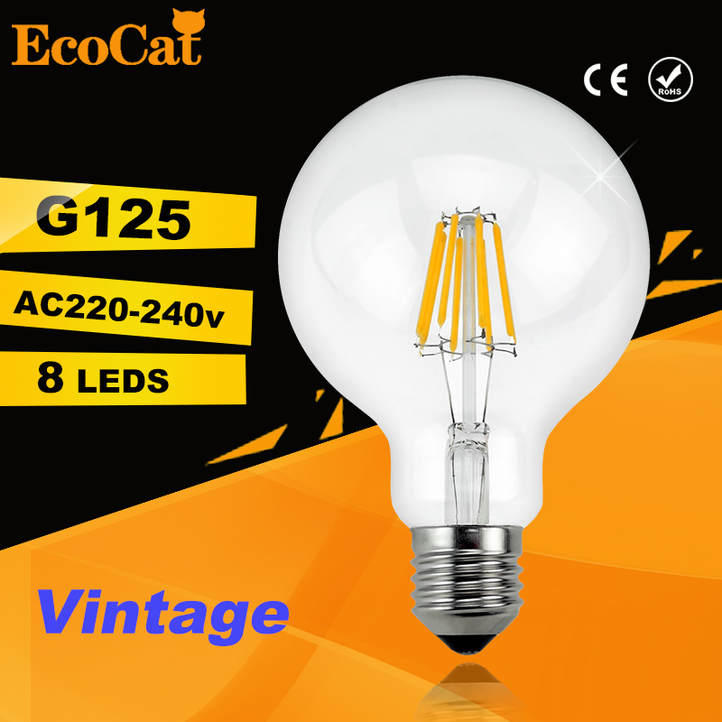 led G125 Edison Bulb Big light bulb 2W 4W 6W 8W filament led bulb E27 clear glass indoor lighting lamp AC220V vintage retro lamp high brightness 1pcs led edison bulb indoor led light clear glass ac220 230v e27 2w 4w 6w 8w led filament bulb white warm white