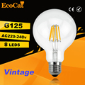 led G125 Edison Bulb Big light bulb 2W 4W 6W 8W filament led bulb E27 clear glass indoor lighting lamp AC220V vintage retro lamp