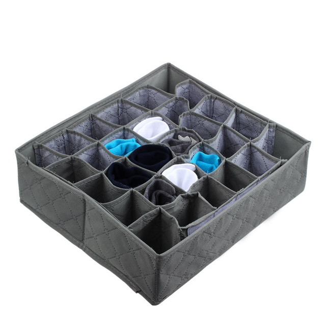 30 Cells Durable Bamboo Charcoal Ties Socks Drawer Closet Organizer Storage Box Non-woven Cloth Underpants Storage Case