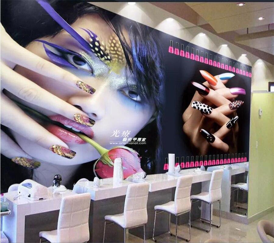 Us 885 41 Offbeibehang Papel De Parede Custom Wallpaper 3d Mural Cool Beauty Salon Manicure Tooling Tv Backdrop Wallpaper For Walls 3 D Mural In