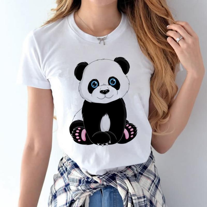 CDJLFH Women Panda   T     shirts   Summer Printed   T  -  shirt   100% Cotton Cartoon Casual Short Sleeve   Shirt   Tops Plus Size Tshirt White