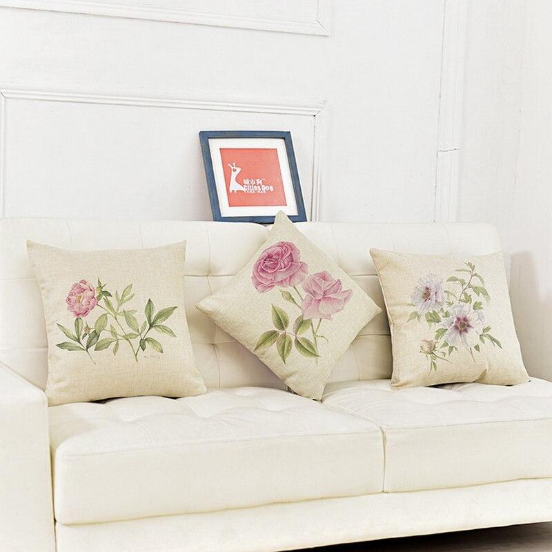 45 * 45 cm 9 Estilos Hogar Coloridas flores frescas Naturaleza Juego - Textiles para el hogar
