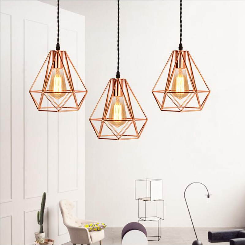 LuKLoy Modern Gold LED Pendant Light Kitchen Light Fixture Diamond Shape Home Table Modern Pendant Ceiling Lamps Loft Decor