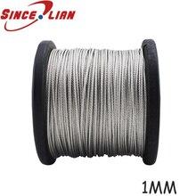 100 M/Roll yüksek gerilimli 1mm paslanmaz çelik tel halat 7X7 yapı kablosu paslanmaz çelik tel balıkçılık halatı kablosu