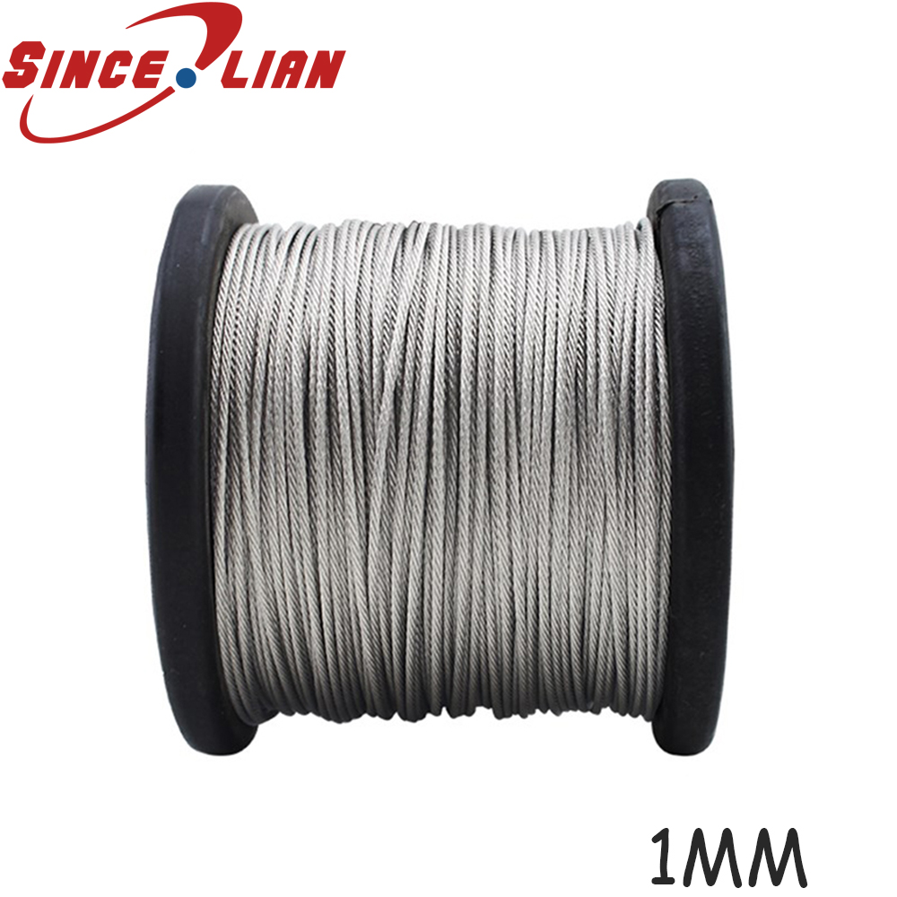 100M/Roll High Tensile <font><b>1mm</b></font> Stainless Steel Wire Rope 7X7 Structure <font><b>Cable</b></font> Stainless Steel Wire Fishing Rope <font><b>Cable</b></font> image