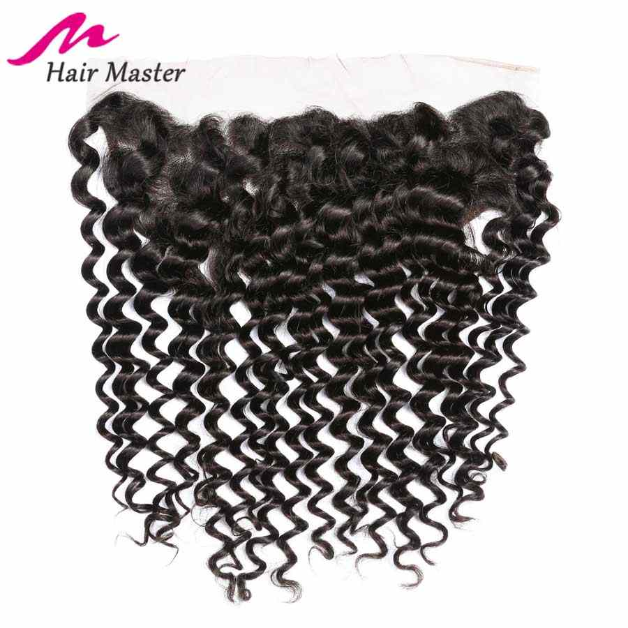 "Brazilian Deep Wave Frontal 8- 22"" 13x4 Lace Frontal Closure Remy Human Hair Frontal Pre Plucked Middle Free Part With Baby Hair"