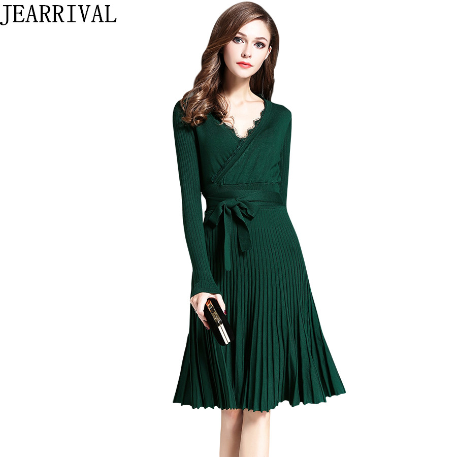 2017 New Fashion Autumn Winter Dress Elegant Women Lace V-Neck Long Sleeve Pleated Casual Knitted Dresses Vestidos De Festa free shipping women lace dress 2016 autumn style good quality half sleeve casual dress o neck 55